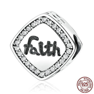 "925 Sterling Silver Letter ""Faith""  Bead Charm"