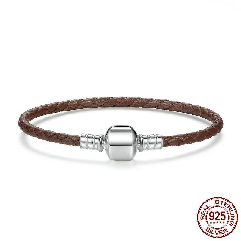 925 Sterling Silver & Genuine Leather Brown Chain Bracelet