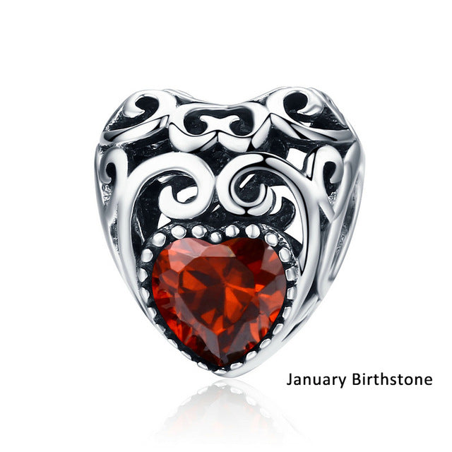 925 Sterling Silver Birthstone Month Charm
