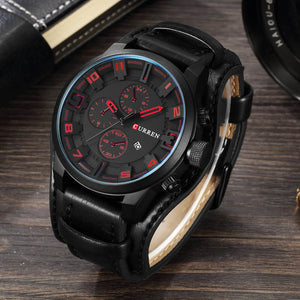 Leather Strap Quartz Wrist Watch