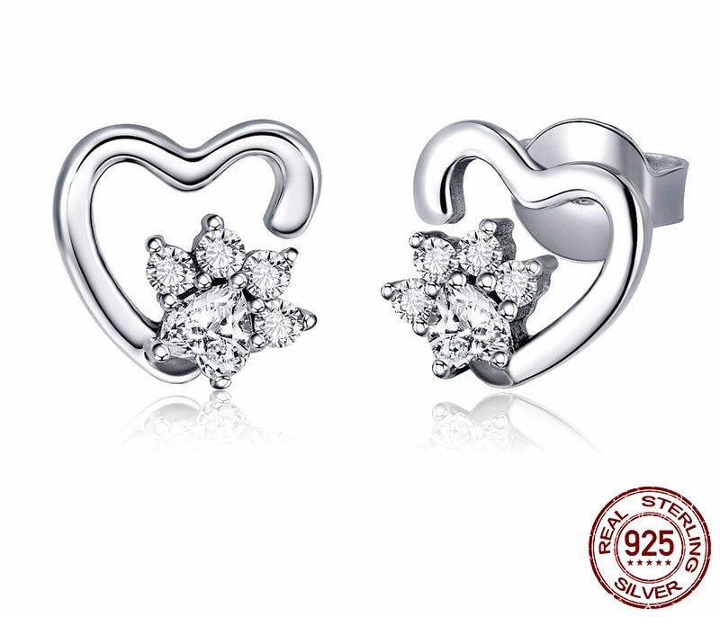 925 Sterling Silver Heart Clear Foot Print Stud Earring