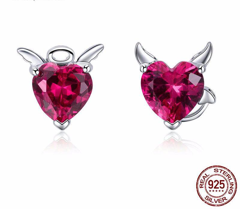 925 Sterling Silver Angel & Devil Pink Heart Stud Earrings