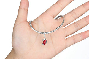 925 Sterling Silver Christmas Socks Red Charm