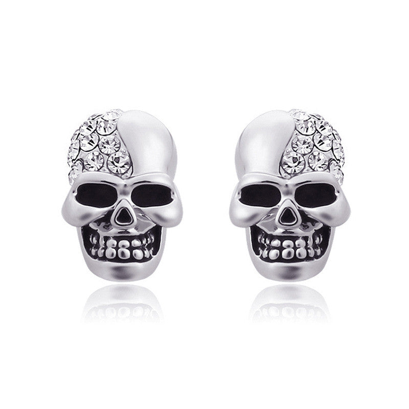 Skull With Diamond Studs Earring
