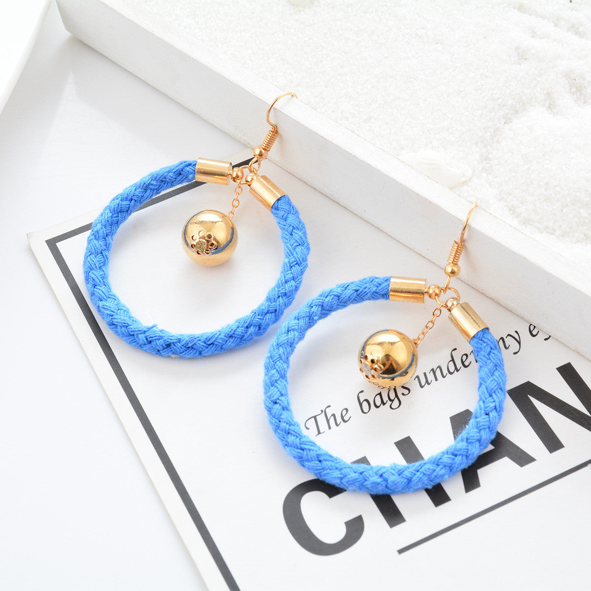 Blue Cotton Round Earrings