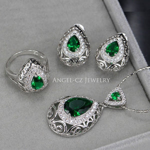 Big Water Drop 3 pcs/set (earring, necklace,ring)