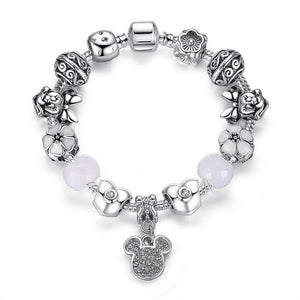 Mickey and Minnie Silver Charm Bangles & Bracelets
