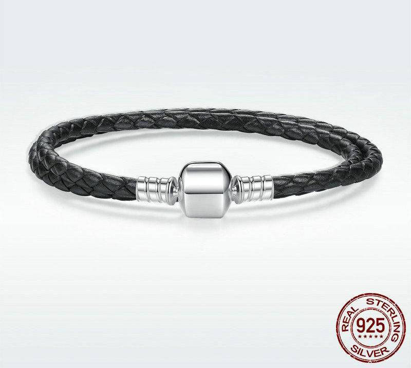 925 Sterling Silver & Genuine Leather Black Chain Bracelet