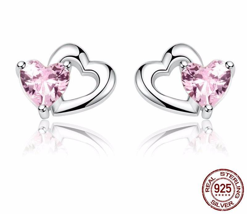 925 Sterling Silver Double Heart to Heart Pink Stud Earrings