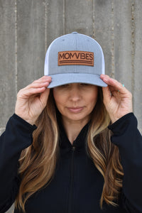 MomVibes - Curved Bill Trucker Snapback (Heather/White)