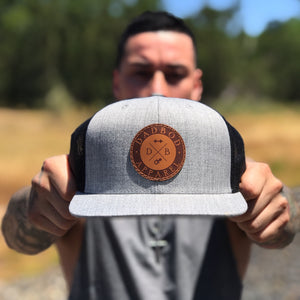 Heather Grey/Black Leather Logo Trucker