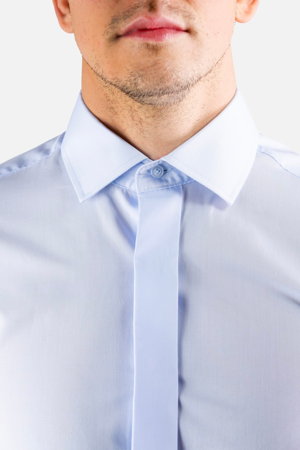 Plain Collar Shirt (Blue)