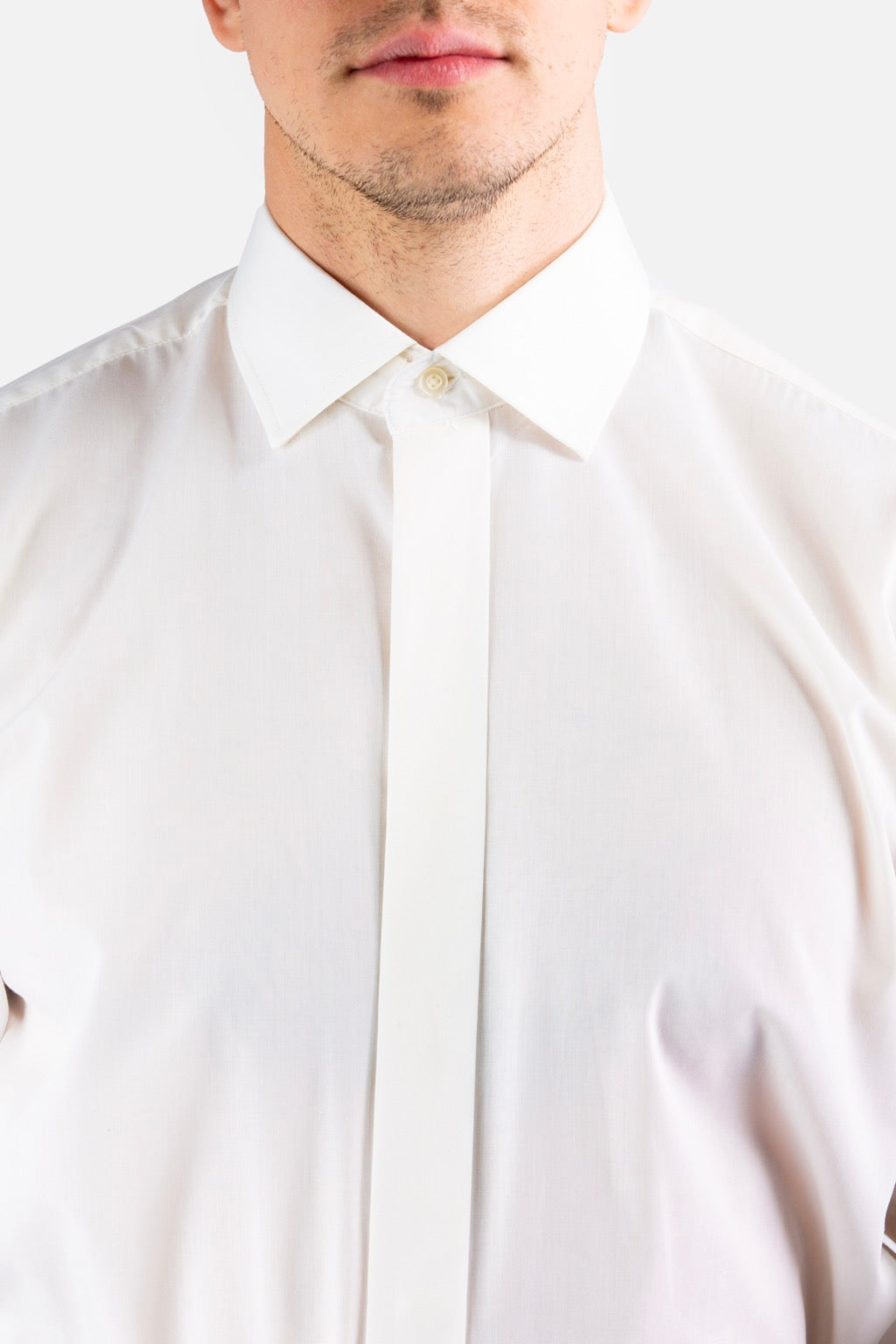Plain Collar Shirt (Cream)