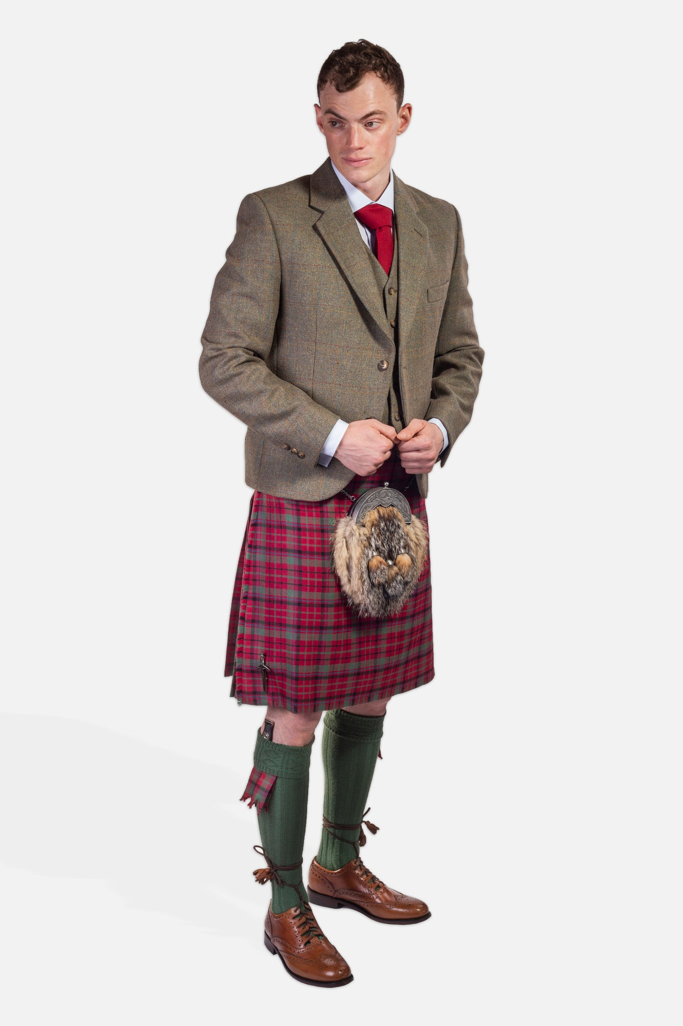 Red Nicolson Muted / Nicolson Tweed Hire Outfit