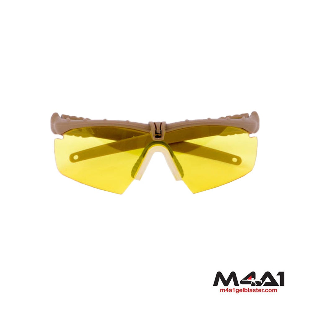 Yellow Lens Goggles Tan Frame