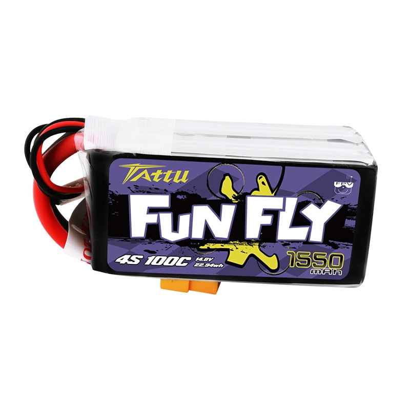 Ace TATTU FUNFLY 1300mAh 1550mAh 4s 14.8V 100C Lipo Battery with XT60 Plug for FPV 250 230 210 180 Size Drone