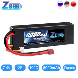 Zeee 2S Lipo Battery 7.4V 100C 8000mAh Hardcase RC Battery Charger Deans Plug for RC Car Truck Boat Helicopter FPV RACING