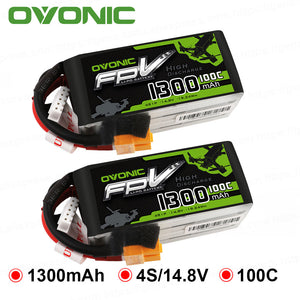 2 Packs OVONIC 1300mAh 100C Max 200C Lipo 4S 14.8V Battery with XT60 Connector for 250 FPV Frame RC Drone Heli Quad Boat