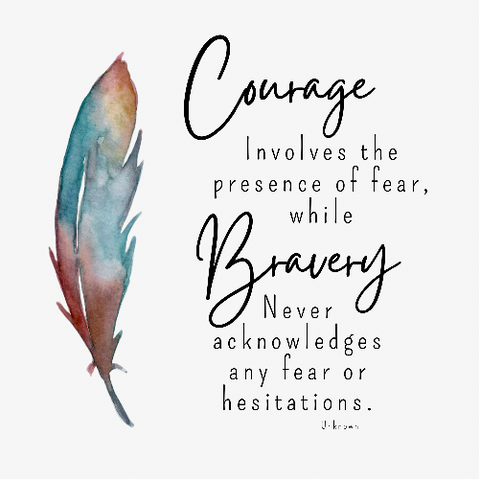 Feather with quote about bravery and courage