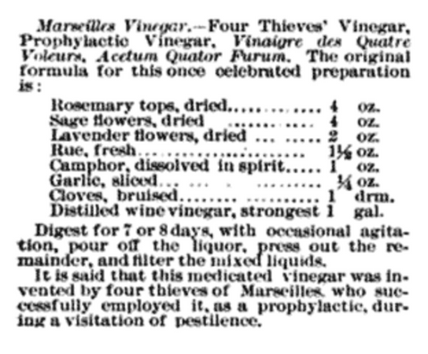 Marseille Vinegar Recipe: Rosemary, Sage, Lavender, Rue, Camphor, Garlic, Cloves, Distilled White Vinegar