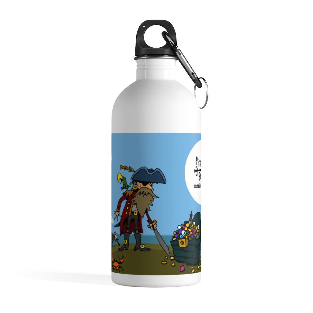 Pirate on Island with Treasure Chest - Stainless Steel Water Bottle