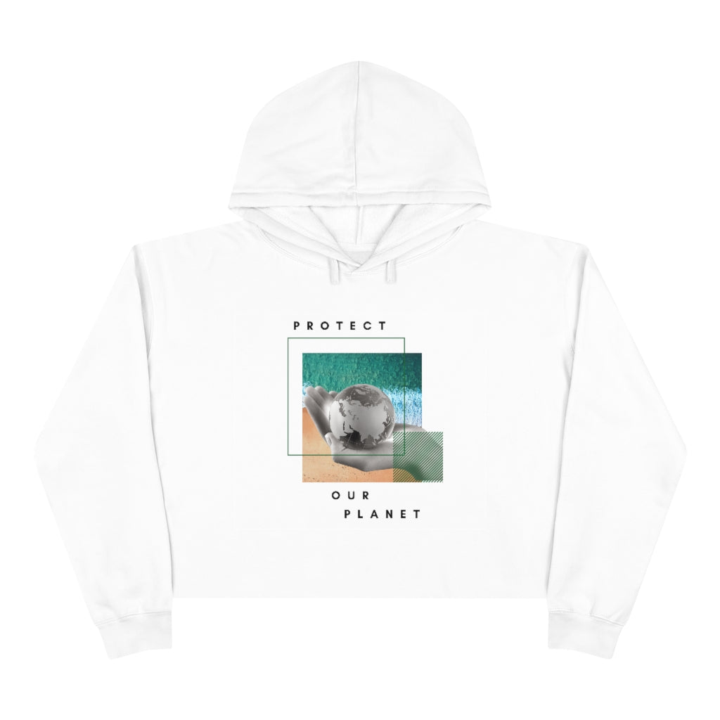Protect our Planet Cropped Hoodie White