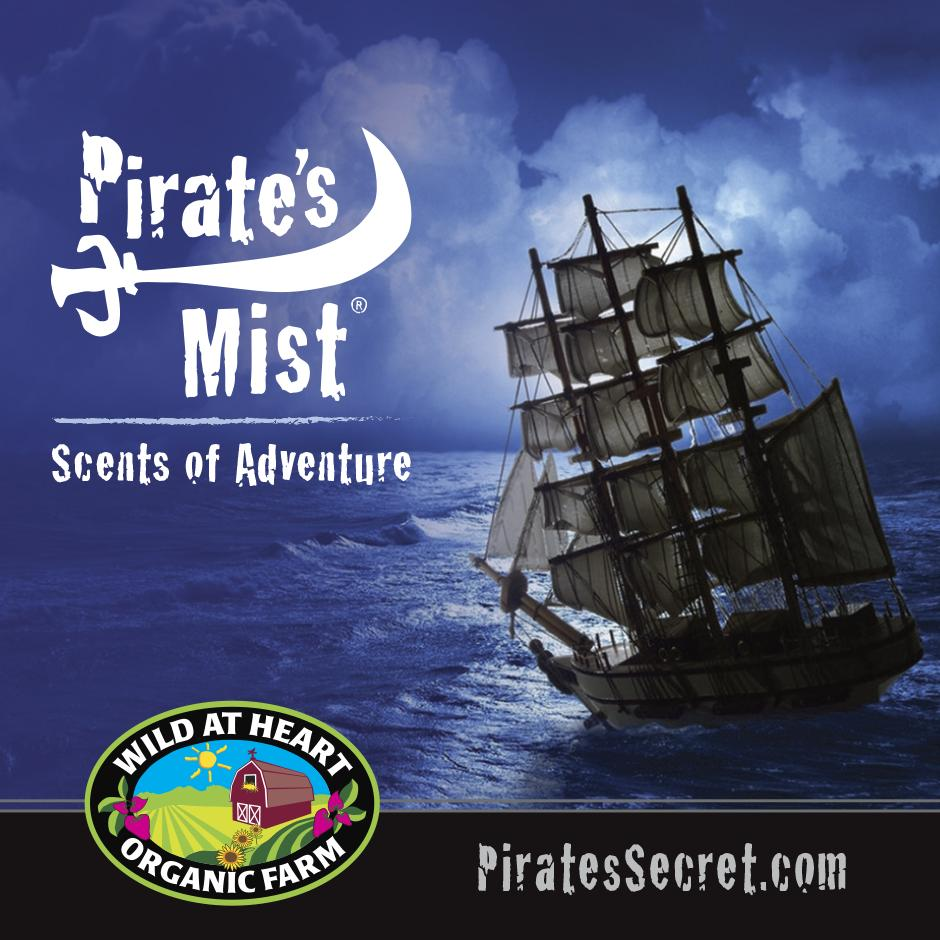 Pirate's Mist Square Scents of Adventure wild at heart logo with ship
