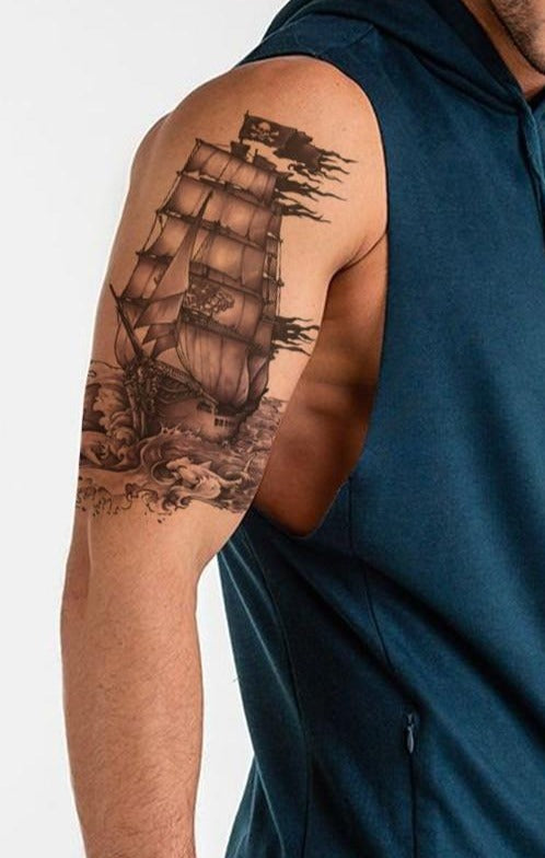 A Pirate's Ship Temporary Tattoo