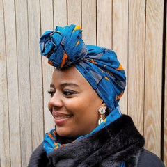blue African headwrap for women