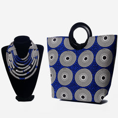 African print blue handbag and Matching African Print necklace- Kejeo Designs