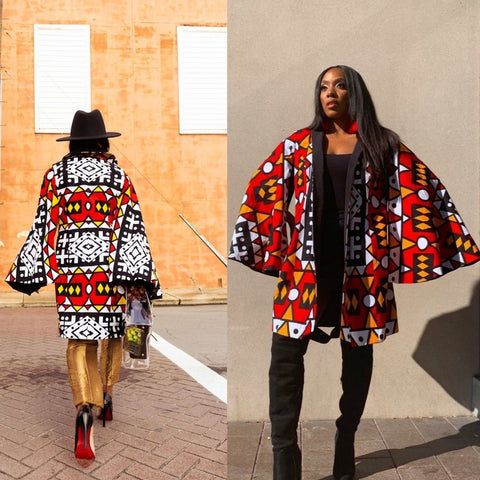 long sleeve african print jackets for women
