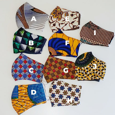 African print face masks by Kejeo Designs