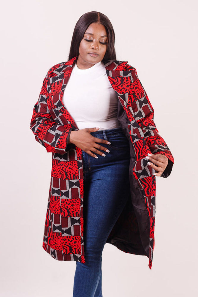 African print jacket for women. Red and Long African print Jacket for ladies. African clothing for women.