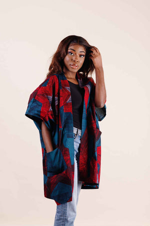 Load image into Gallery viewer, African Kimono. Kimono jackets. Long jackets. Ankara kimono for women.