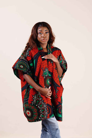 Load image into Gallery viewer, African print kimono for women- Kejeo Designs