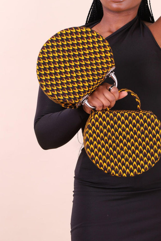 round bag. mini bag. crossbody bag. African bag