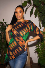 Green top. Printed top. African print top. Summer top. Casual top for women.