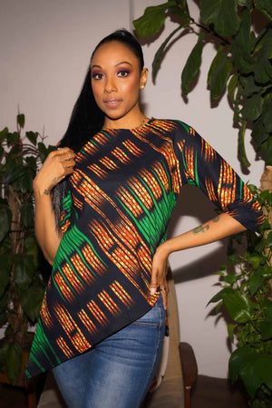 Load image into Gallery viewer, Green top. Printed top. African print top. Summer top. Casual top for women.