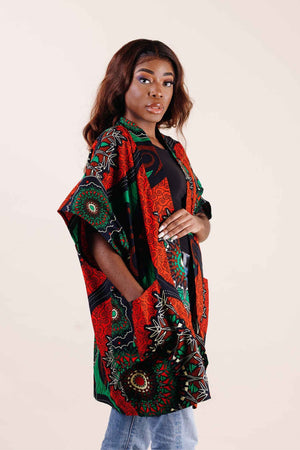 Red and green jacket. African Kimono for women- Kejeo Designs