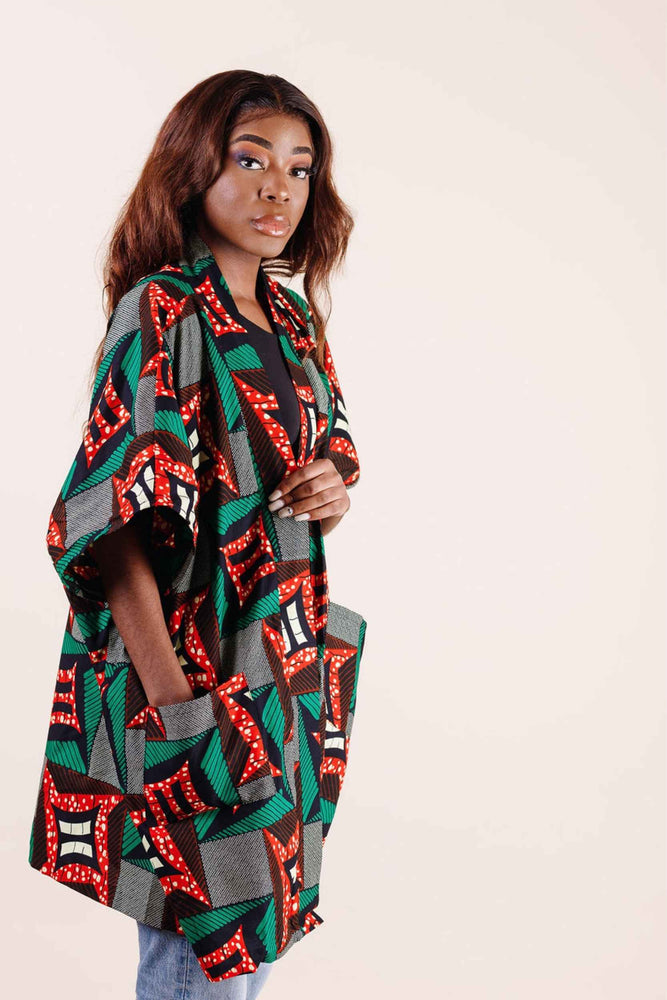 Load image into Gallery viewer, floral kimono. Loose jacket. Loose kimono jacket. African kimono jackets.
