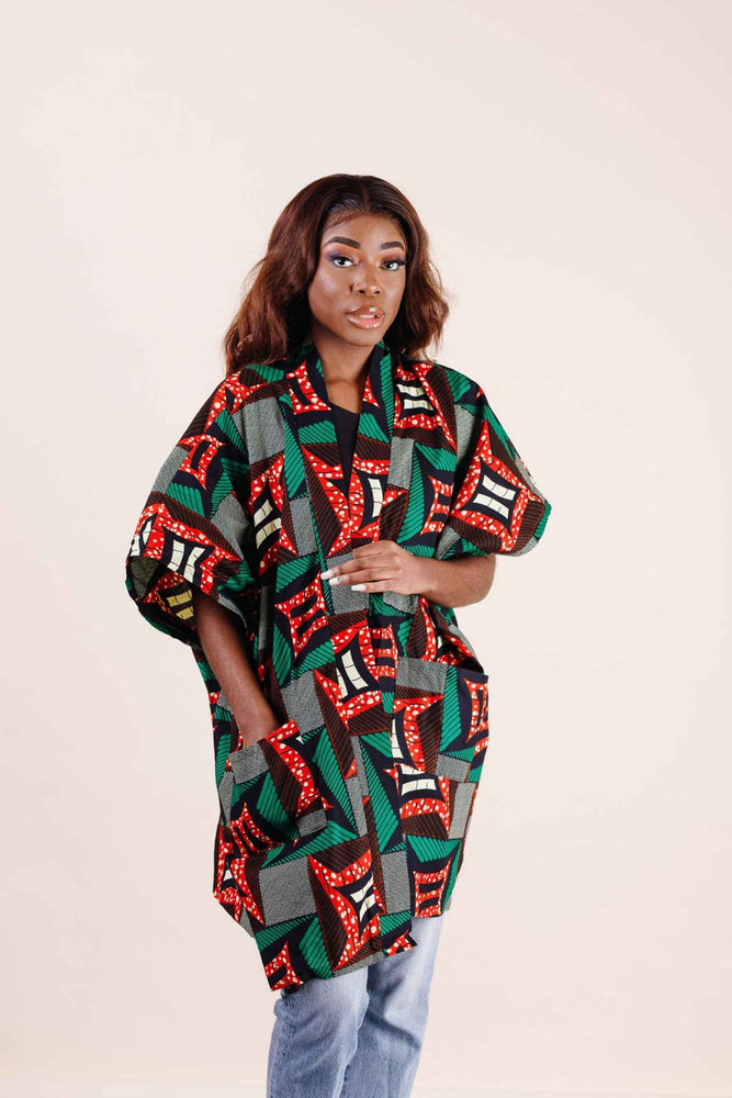 African print kimono. Women's top. African clothing for women.