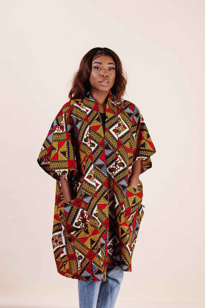 Load image into Gallery viewer, african kimono styles. Kimono jacket. African clothing for women. African kimono jackets.