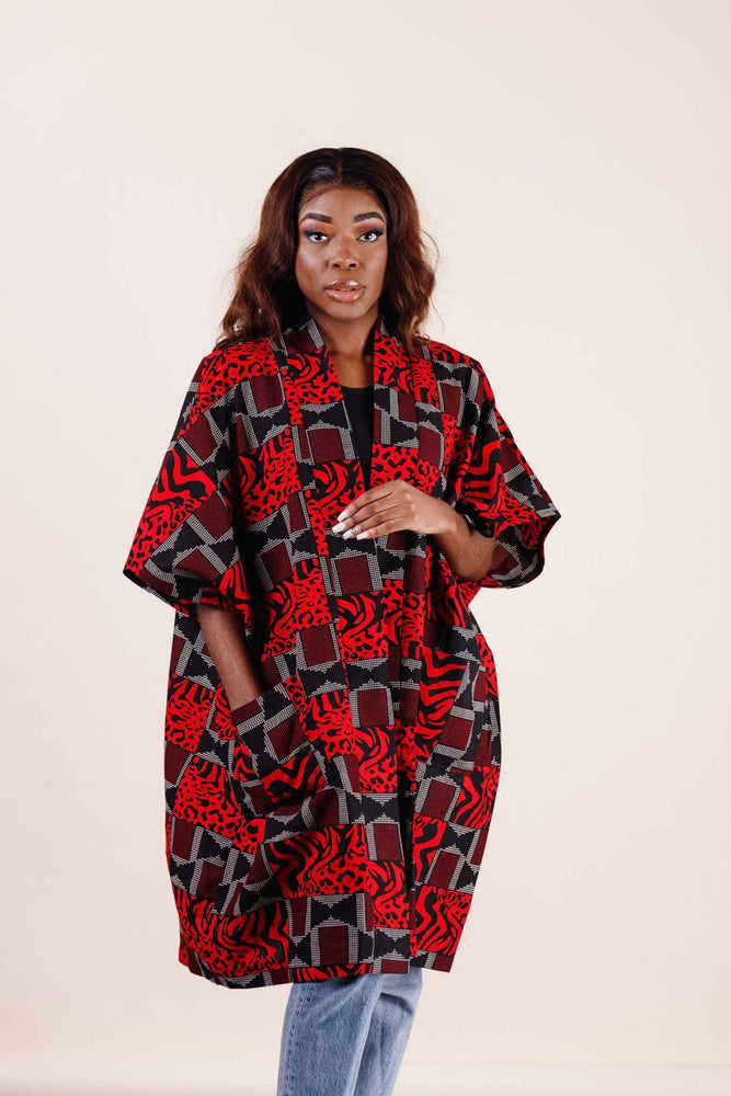 Load image into Gallery viewer, Mid length kimono. Long jacket for women. Red jacket for women. African clothing for women - Kejeo Designs