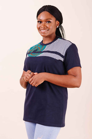 African shirt for ladies. African shirt for women. Casual shirt for ladies. Dark blue shirt with prints.