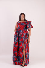 Red maxi dress for woman. African red dress. African red maxi dress.