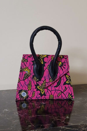 CLARISSA African Print Mini Bag (Leather Handle)