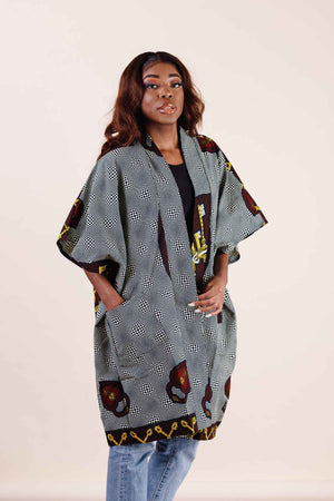 Load image into Gallery viewer, Grey kimono jacket. Women's kimono jacket. African kimono. african clothing.