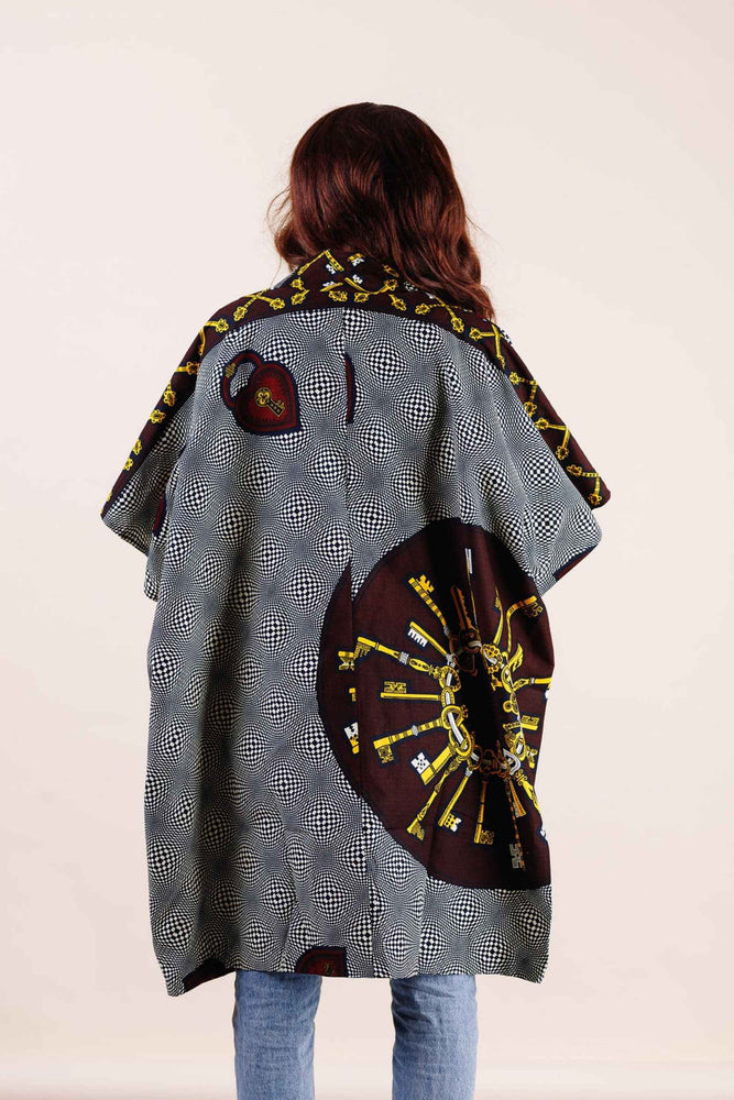 Load image into Gallery viewer, Grey kimono jacket. Women's kimono jacket. African kimono. african clothing. casual jacket