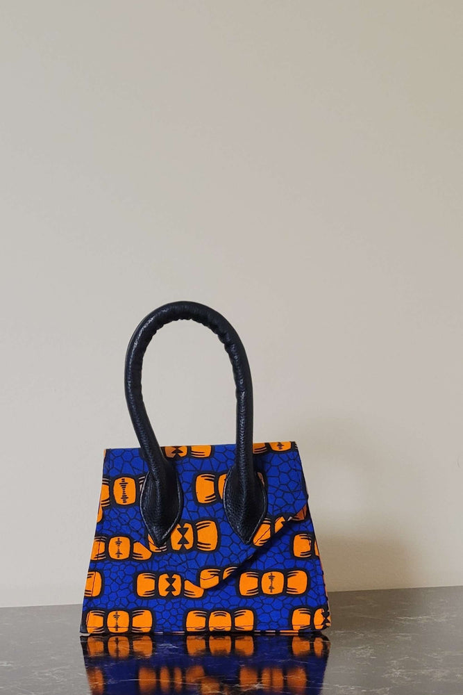 Load image into Gallery viewer, african print bag. blue mini bag. where to buy mini bags online