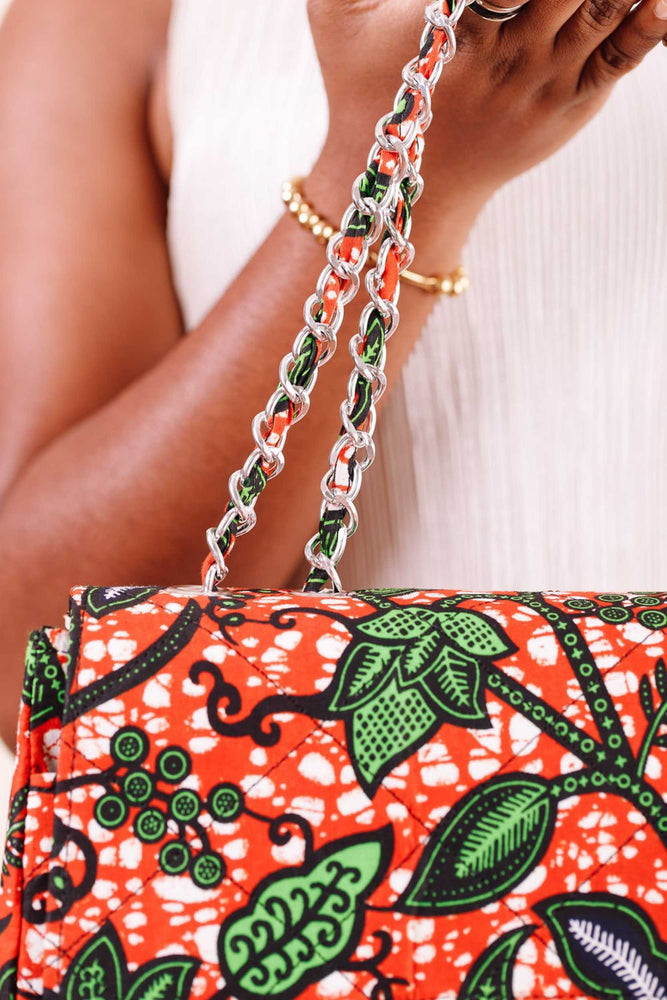 orange bag. orange purse. African bag. Handbag for women.
